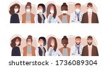 group of people wearing medical ... | Shutterstock .eps vector #1736089304