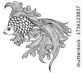 aquarium goldfish in line art... | Shutterstock .eps vector #1736123837