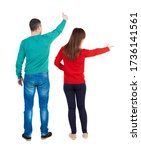 back view of couple in sweater... | Shutterstock . vector #1736141561