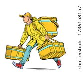 courier boy food delivery. pop... | Shutterstock .eps vector #1736158157