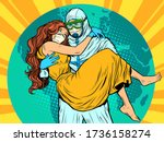 doctor man in protective suit... | Shutterstock .eps vector #1736158274