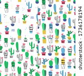 cactus in pot seamless pattern. ... | Shutterstock .eps vector #1736178194