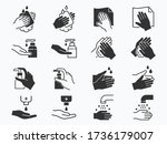 hand washing icons set. vector... | Shutterstock .eps vector #1736179007