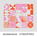 swiss design style abstract... | Shutterstock .eps vector #1736197691
