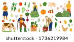 Vector set of vegetables, fruits, farm animals and farmers. Local product. Farmers gathering crops, harvest. People work in the garden. Farm works. Flat cartoon. Man gardener watering, trimming plants