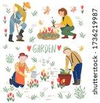 men and women watering plants.... | Shutterstock .eps vector #1736219987