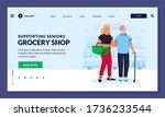 young volunteer woman helps to... | Shutterstock .eps vector #1736233544