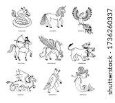 magical creatures set.... | Shutterstock .eps vector #1736260337