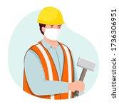 construction worker wearing... | Shutterstock .eps vector #1736306951