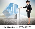 focused businesswoman pointing... | Shutterstock . vector #173631209