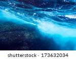 sea bottom with blue water wave ... | Shutterstock . vector #173632034