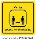 social distancing sign stick... | Shutterstock .eps vector #1736342441