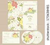 set of wedding invitation cards ... | Shutterstock .eps vector #173638481