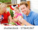 july 4th  smiling dad at... | Shutterstock . vector #173641367