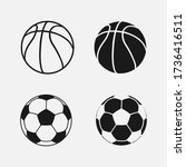 ball collection. soccer and... | Shutterstock .eps vector #1736416511