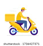 yellow delivery moto scooter ...   Shutterstock .eps vector #1736427371
