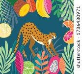 cute exotic wild big cat... | Shutterstock .eps vector #1736430971