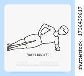 man in side plank left. thin...   Shutterstock .eps vector #1736439617