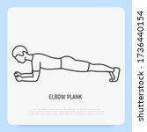 man in elbow plank. thin line...   Shutterstock .eps vector #1736440154