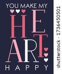 you make my heart happy. love.... | Shutterstock .eps vector #1736450501