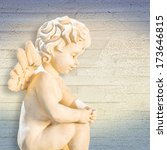 angel sitting  background wood | Shutterstock . vector #173646815