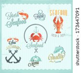 restaurant seafood icon set | Shutterstock .eps vector #173647091