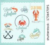restaurant seafood icon set | Shutterstock .eps vector #173647091