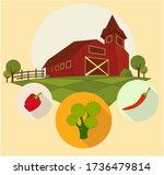 agriculture and farm land rural ... | Shutterstock .eps vector #1736479814