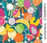 fruit seamless pattern ...   Shutterstock .eps vector #1736485874