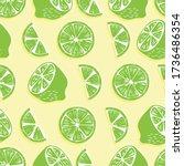 fruit seamless pattern  lime... | Shutterstock .eps vector #1736486354