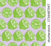 fruit seamless pattern  lime... | Shutterstock .eps vector #1736487047