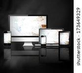 tablet pc  mobile phone ... | Shutterstock . vector #173649329