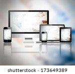 tablet pc  mobile phone ... | Shutterstock . vector #173649389