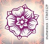 vector vintage engraving flower ... | Shutterstock .eps vector #173651129
