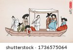korean traditional painting  ... | Shutterstock .eps vector #1736575064