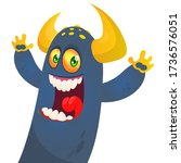 funny cartoon monster creature. ... | Shutterstock .eps vector #1736576051