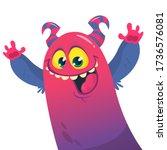 funny cartoon monster creature. ... | Shutterstock .eps vector #1736576081