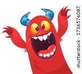 funny cartoon monster creature. ... | Shutterstock .eps vector #1736576087