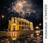 fireworks over opera theater in ... | Shutterstock . vector #173659355