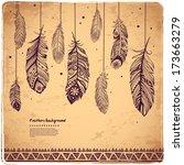 vintage feather illustration... | Shutterstock .eps vector #173663279
