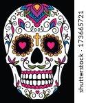 mexican sugar skull | Shutterstock .eps vector #173665721