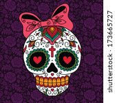 mexican sugar skull girl | Shutterstock .eps vector #173665727