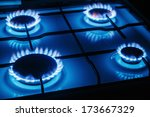 Blue Flames Of Gas Burning Fro...