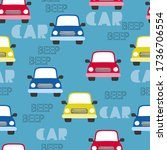 seamless cartoon cars pattern.... | Shutterstock .eps vector #1736706554