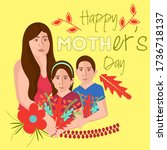 happy mothers day card. woman... | Shutterstock .eps vector #1736718137