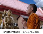 Small photo of Portrait asian monk,Thai Novice are prayer, Buddhist are smile face, Indian monk, happy novices, thai monk in Buddhist temple,Time to concentrate,The monks to pray respect to the Buddha, Thai culture