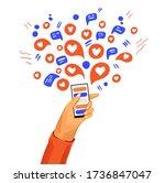 hand with phone vector cartoon... | Shutterstock .eps vector #1736847047