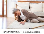 Small photo of Elderly stroke, Asian older woman suffer from stroke and powerful headache or brain attack