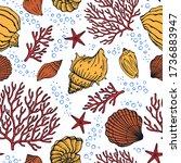 seamless pattern with seashells ...   Shutterstock .eps vector #1736883947