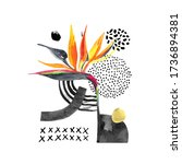 hand drawn collage in... | Shutterstock . vector #1736894381